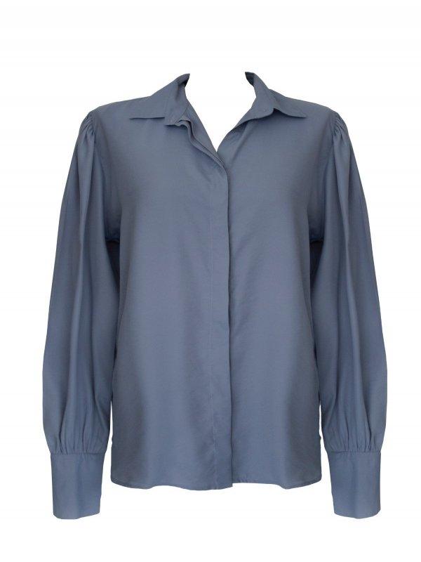 Camisa Azul Botão Único Strass