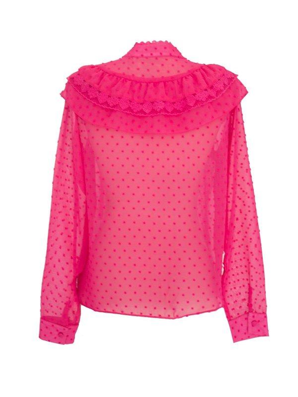 Camisa Chiffon Poá Rosa