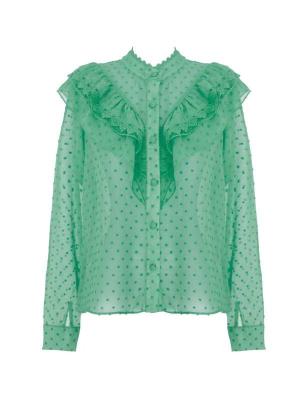 Camisa Chiffon Poá Verde Água