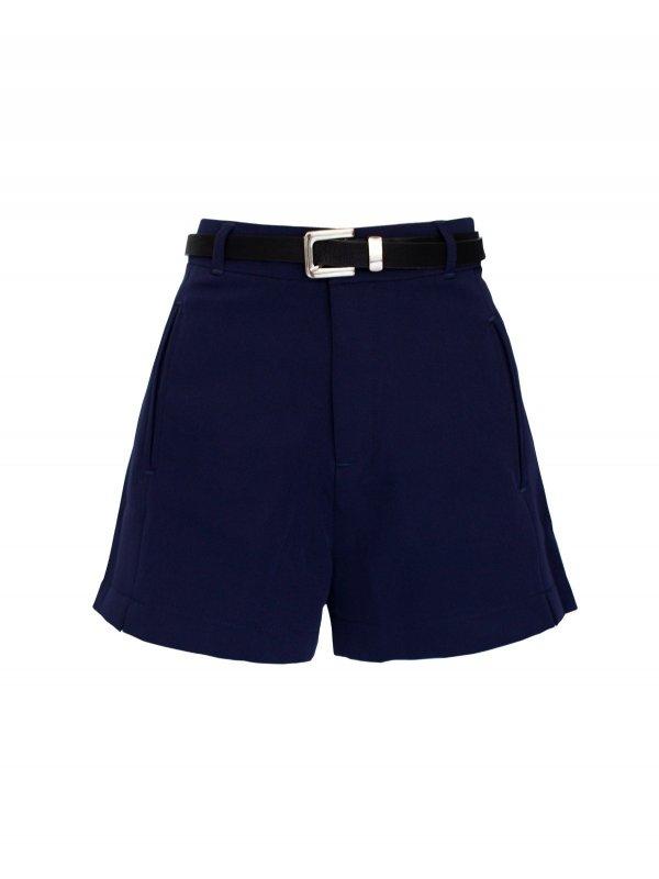Shorts Alfaiataria Azul Marinho + Cinto de mimo
