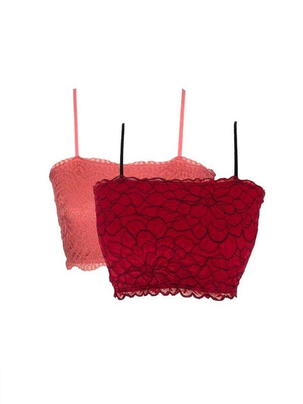 Combo Top Faixa Rosê e Vermelho
