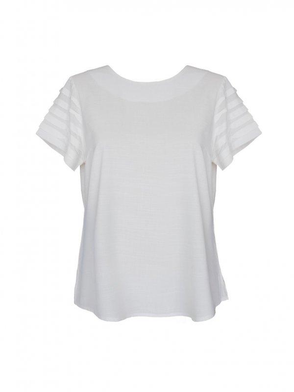 Blusa Branca Manga Drapeada