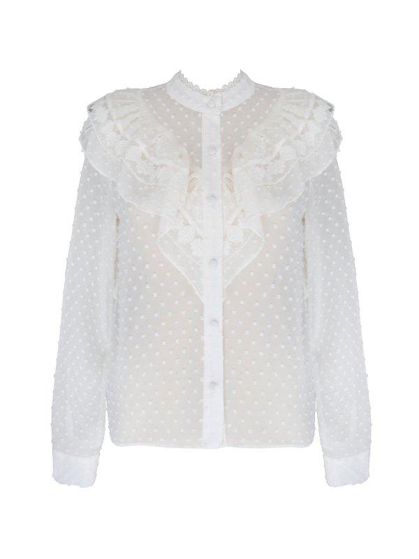 Camisa Chiffon Poá Off White