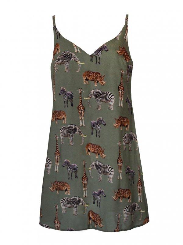 Vestido Isadora Estampa Bichos  + cinto de mimo