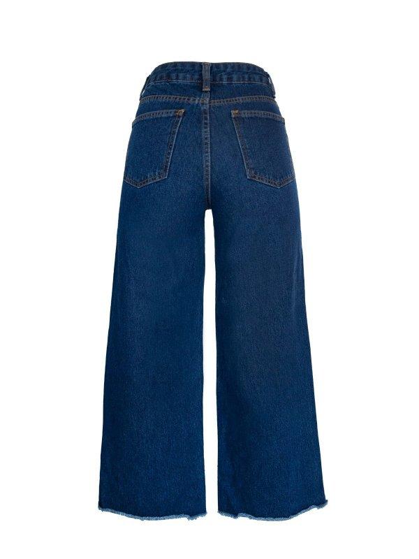 Calça Jeans Midi Flare