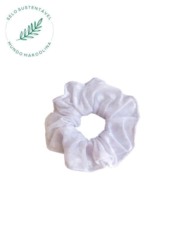 Scrunchie Branco Poá