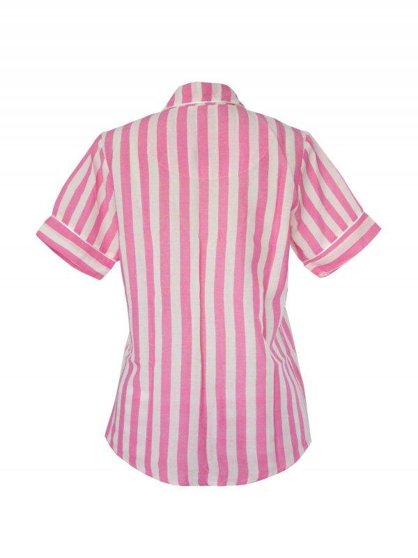 Pijama Curto Rosa Listras Brancas-4