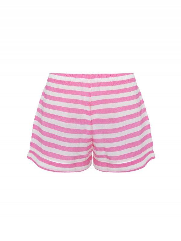 Pijama Curto Rosa Listras Brancas-5