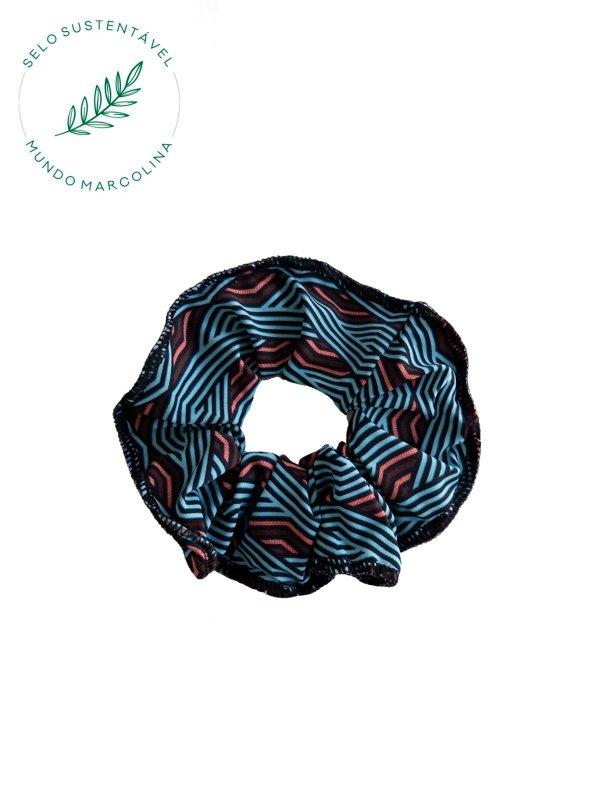 Scrunchie Azul Geométrico