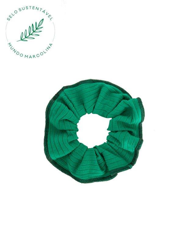 Scrunchie Canelado Verde