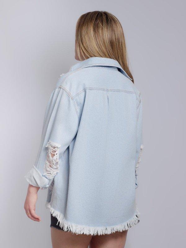 Camisa Jeans Azul Claro Oversize Destroyed