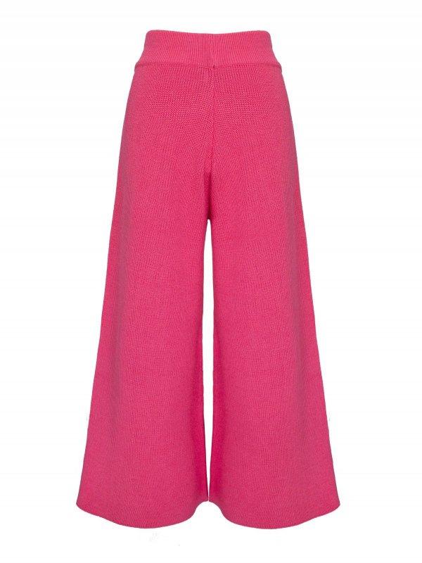 Calça Pantalona Cropped Tricô Rosa