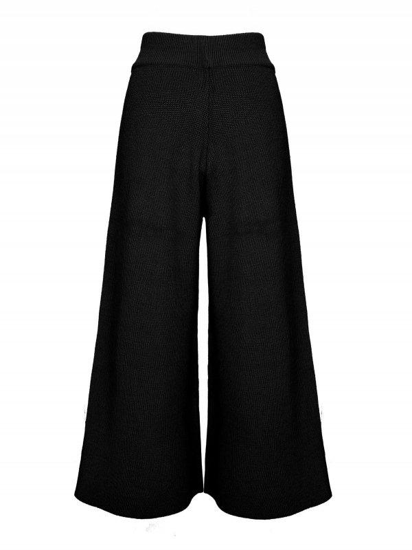 Calça Pantalona Cropped Tricô Preta SEGUNDA LINHA