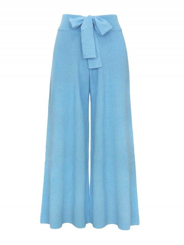 Calça Pantalona Cropped Tricô Azul