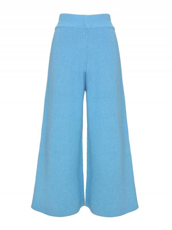 Calça Pantalona Cropped Tricô Azul SEGUNDA LINHA