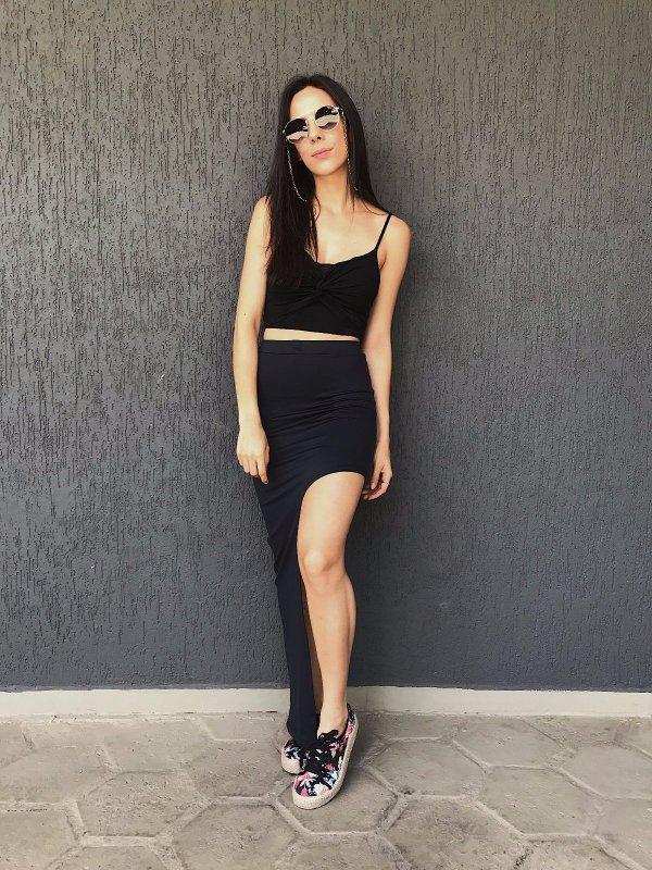 Shorts Saia Assimétrico Preto