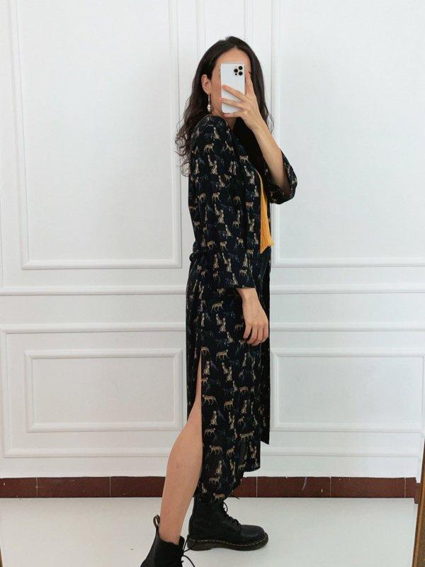 Kimono Longo Preto Estampa Guepardo