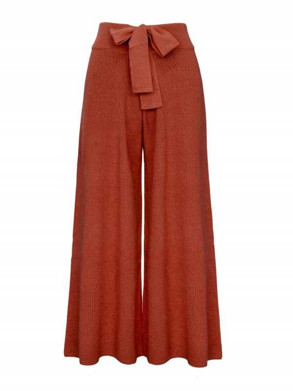 Calça Pantalona Cropped Tricô Terracota