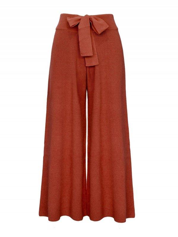 Calça Pantalona Cropped Tricô Terracota SEGUNDA LINHA