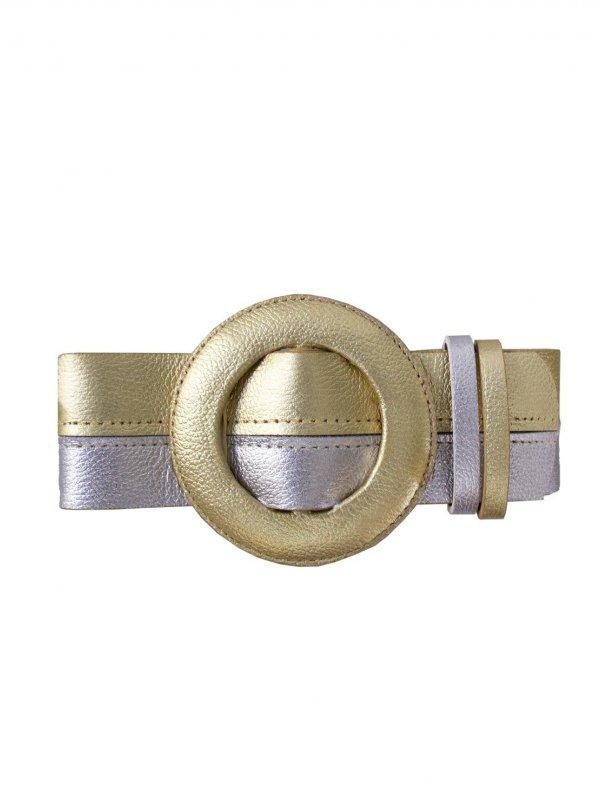 Cinto Metalizado Dourado e Prata Fivela Redonda SEGUNDA LINHA