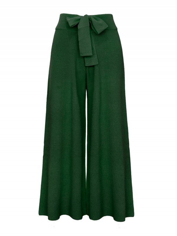 Calça Pantalona Cropped Tricô Verde