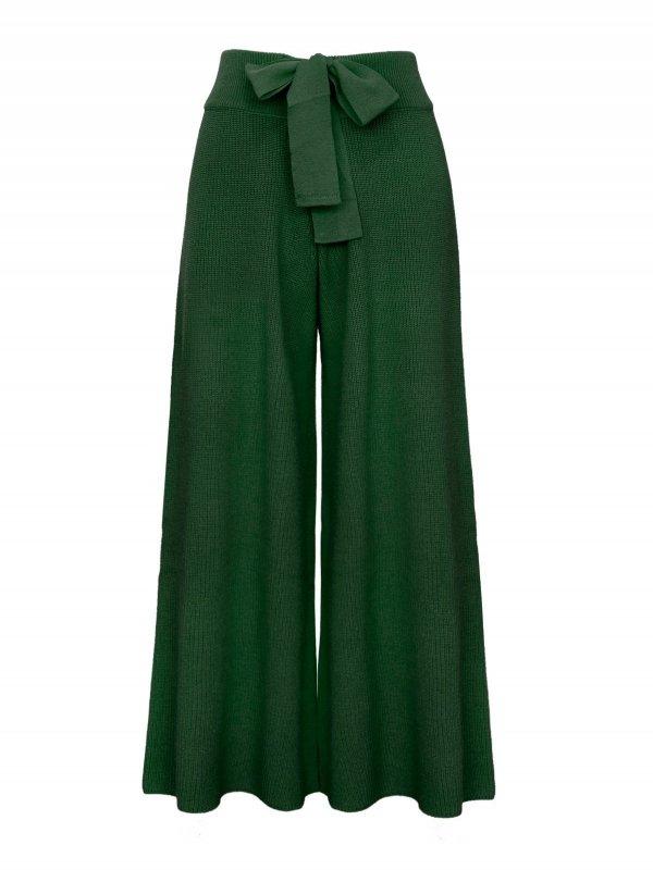 Calça Pantalona Cropped Tricô Verde SEGUNDA LINHA