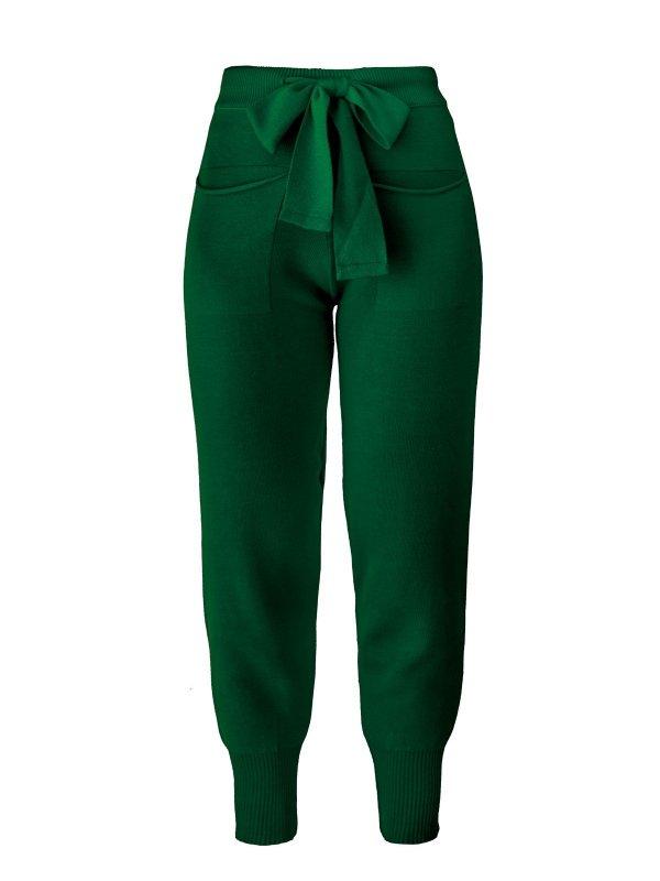 Calça Jogger Tricô Verde  + Cropped de mimo