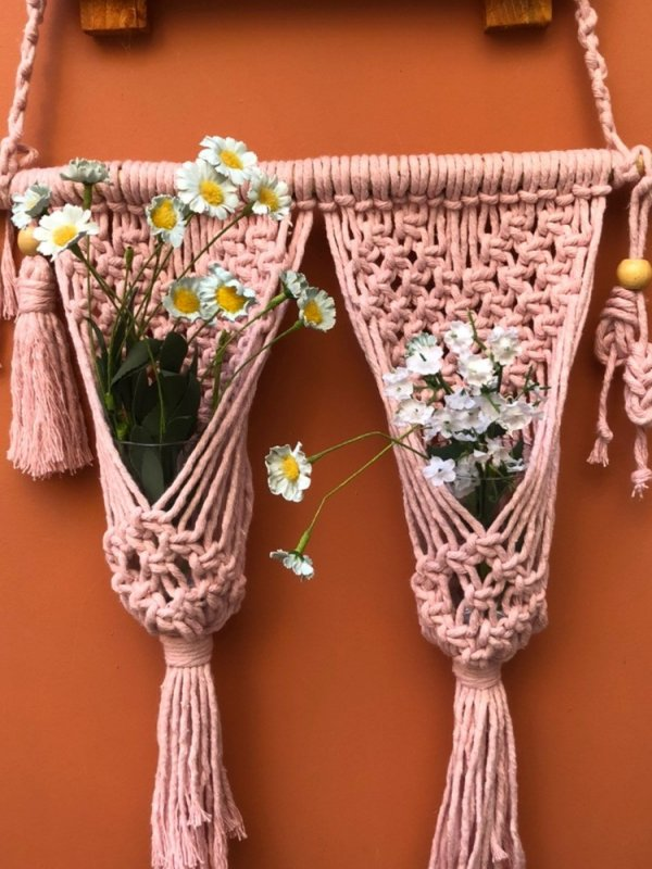Painel Macramê para dois Vasos Pequeno Rosa