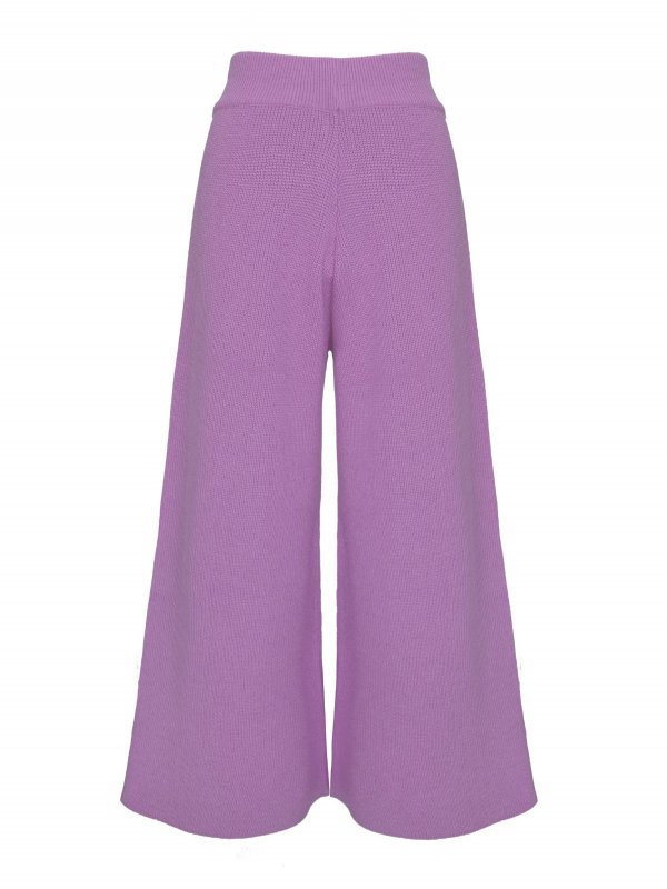 Calça Pantalona Cropped Tricô Lilás