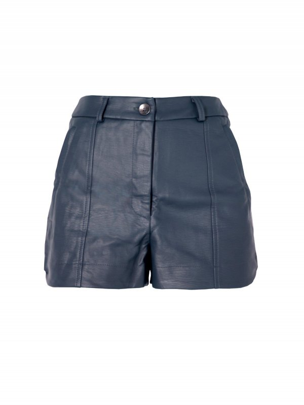 Shorts Alfaiataria Couro Azul