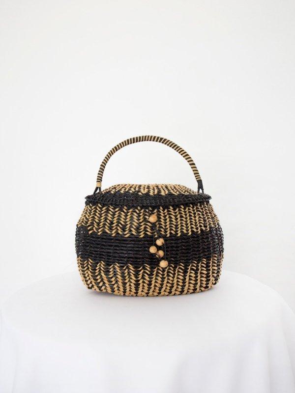 Bolsa de mão de palha preta 04