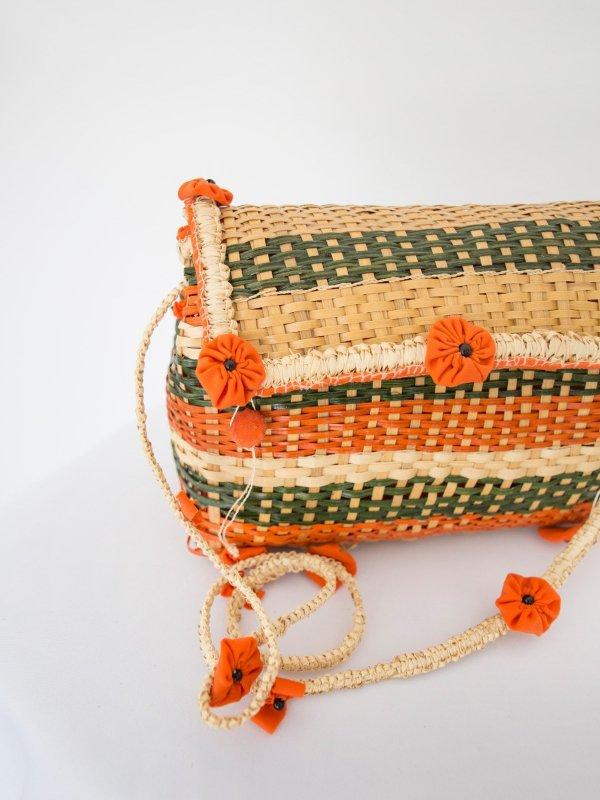 Bolsa de palha laranja e verde 12