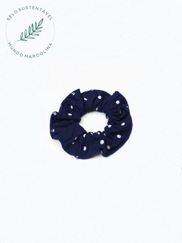 Scrunchie Poá Azul Marinho