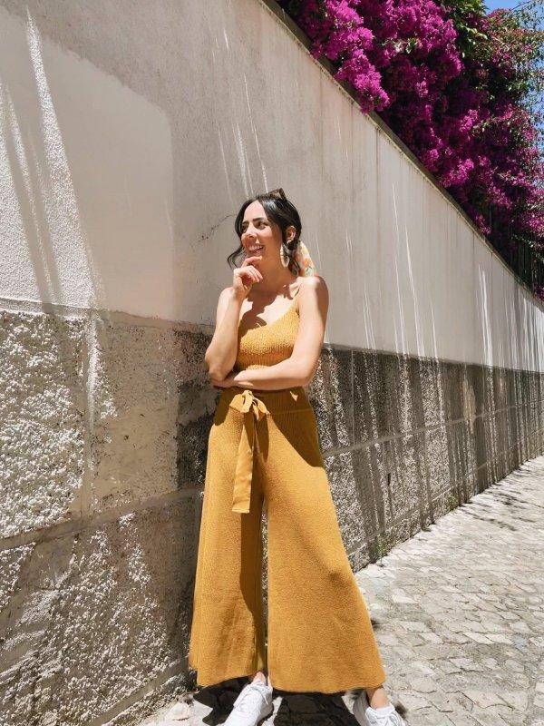 Calça Pantalona Cropped Tricô Ouro