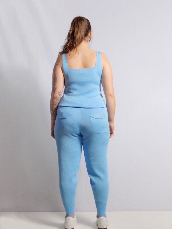 Calça Jogger Tricô Azul + Regata de mimo -3