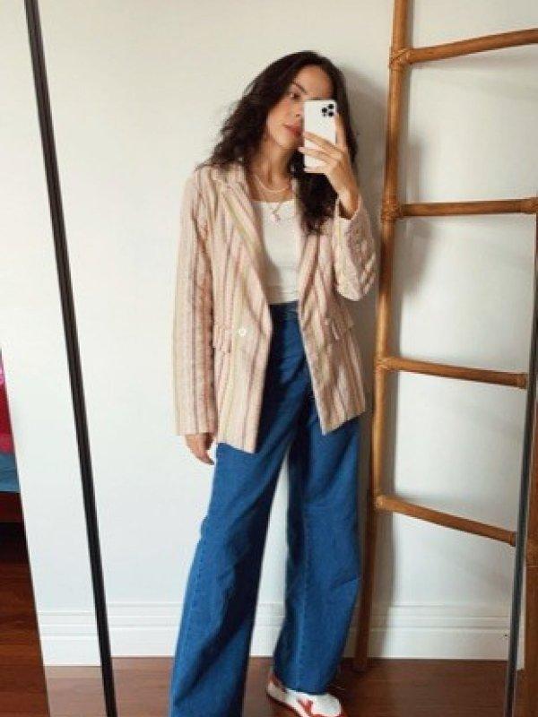Calça Jeans Pantalona Tradicional Azul Médio-4