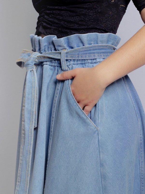 Saia Eva Godê Jeans -1