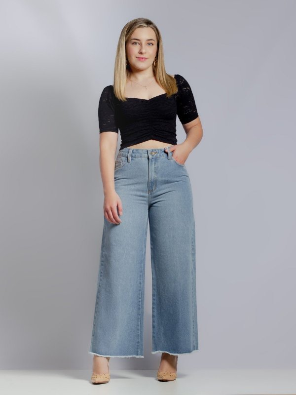 Calça Pantalona Cropped Jeans Clara