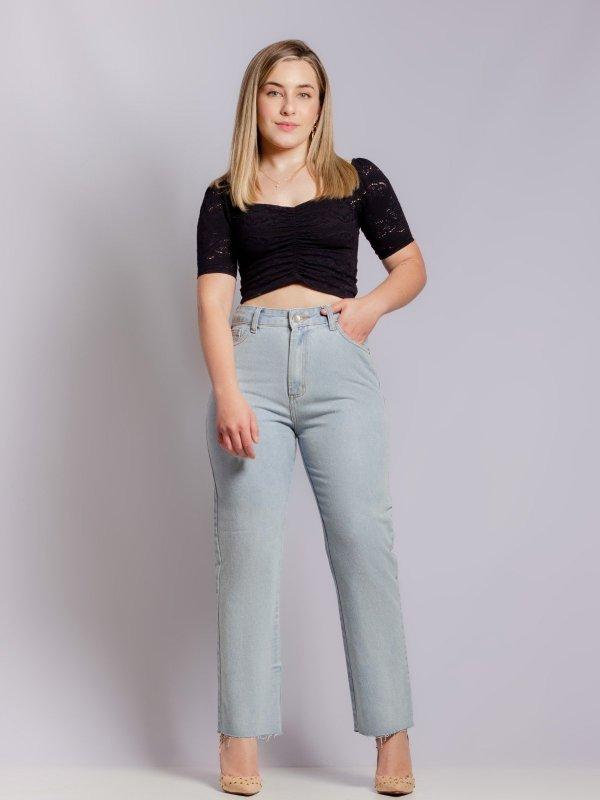 Calça Jeans Claro Reta