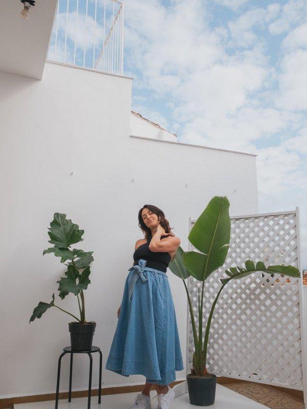 Saia Eva Godê Jeans -10