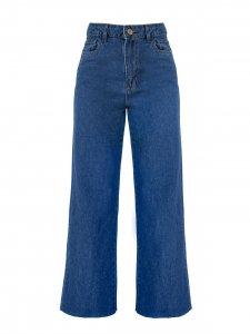 Calça Jeans Pantalona Tradicional Azul Médio-1