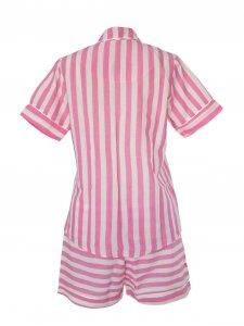 Pijama Curto Rosa Listras Brancas-2