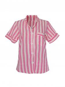 Pijama Curto Rosa Listras Brancas-3