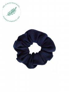 Scrunchie Canelado Azul Petróleo -1