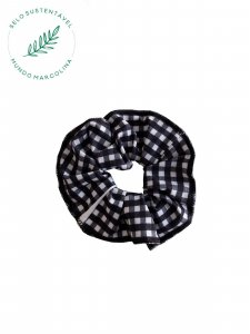 Scrunchie Xadrez preto e branco-1