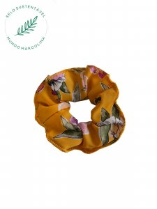 Scrunchie Amarelo Flores-1