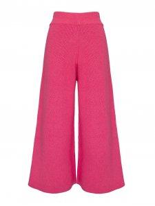 Calça Pantalona Cropped Tricô Rosa-2