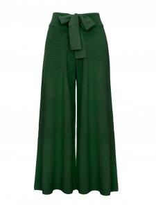 Calça Pantalona Cropped Tricô Verde-1