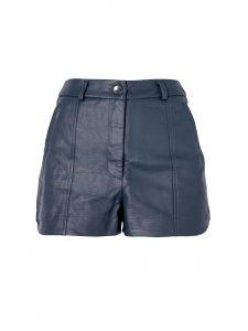 Shorts Alfaiataria Couro Azul-1