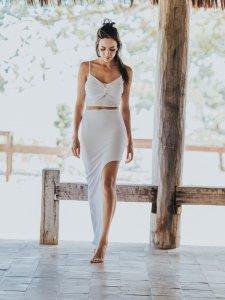 Shorts Saia Assimétrico Branco -5